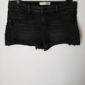 Black Denim Floral Crochet Shorts